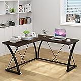 Decho Modern L-shaped Desk Corner Computer Desk PC Latop Study Table Workstation Home Office Wood&Metal(Walnut)