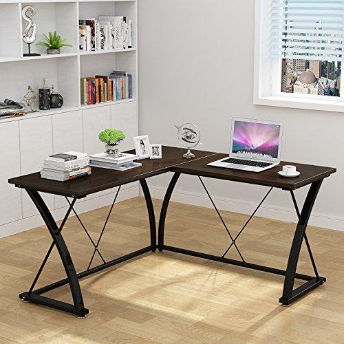 Decho Modern L-shaped Desk Corner Computer Desk PC Latop Study Table Workstation Home Office (L-shaped Desk Package)