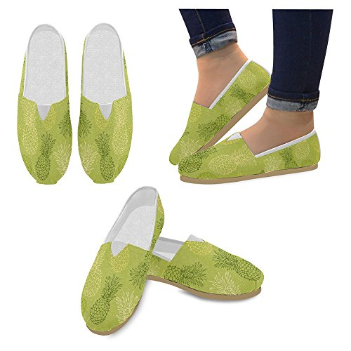Interestprint Mujeres Loafers Classic Casual Slip On Zapatos De Moda Sneakers Flats Pineapple Fruit Multi 32