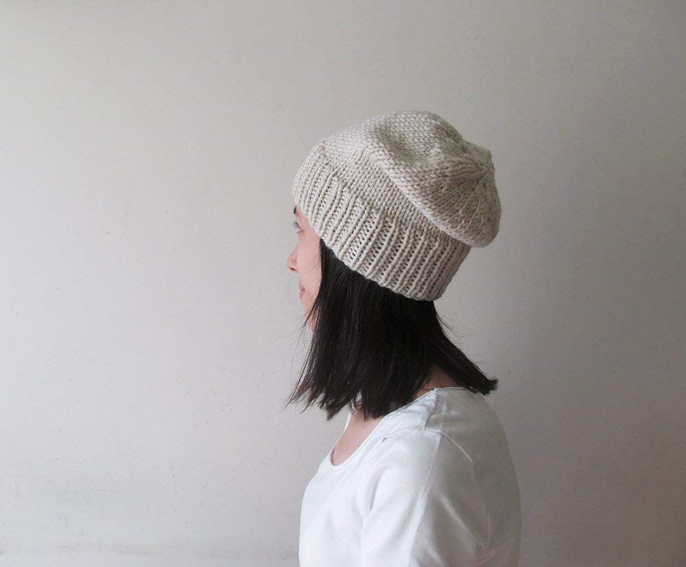 Hand Knit Chunky Wool Slouchy Beanie Hat