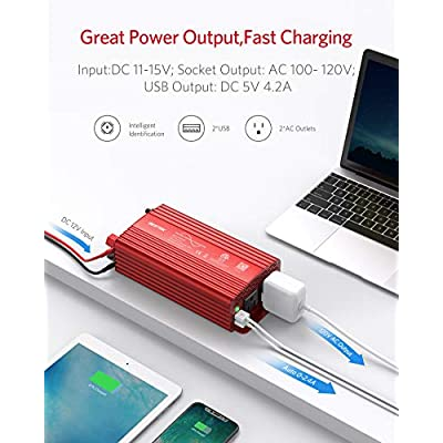 BESTEK 500W Pure Sine Wave Power Inverter DC 12V to AC 110V Car Plug Inverter Adapter Power Converter with 4.2A Dual USB Charging Ports and 2 AC Outlets Car Charger, ETL Listed: Car Electronics