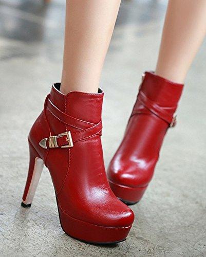 Aisun Womens Mode Bout Rond Boucle Sangle Côté Fermeture À Glissière Plate-forme Bottillons Robe Chunky Talon Haut Cheville Bottes Chaussures Rouge