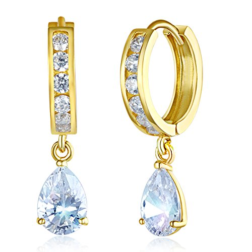 (Wellingsale Ladies 14k Yellow Gold Polished Fancy Huggies Dangle Hanging Drop Earrings (5 X 25mm))