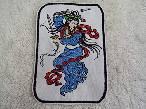 Asian Oriental Sword Warrior Woman Lady Embroidered Iron-on Patch