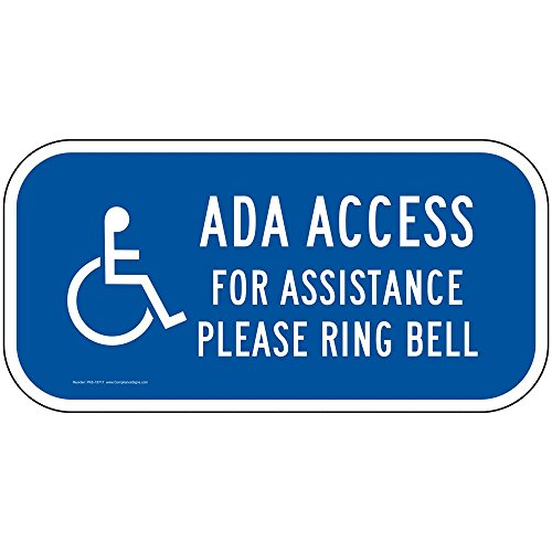 Illinois Bell (ComplianceSigns Aluminum Handicap Assistance Sign, Reflective 12 x 6 in. with Accessibility info in English, Blue)