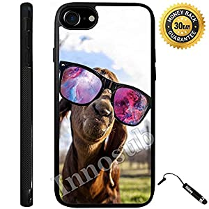 Custom iPhone 7 Case (Goat With Sunglasses Nebula) Edge-to-Edge Rubber Black Cover with Shock and Scratch Protection | Lightweight, Ultra-Slim | Includes Stylus Pen by Innosub