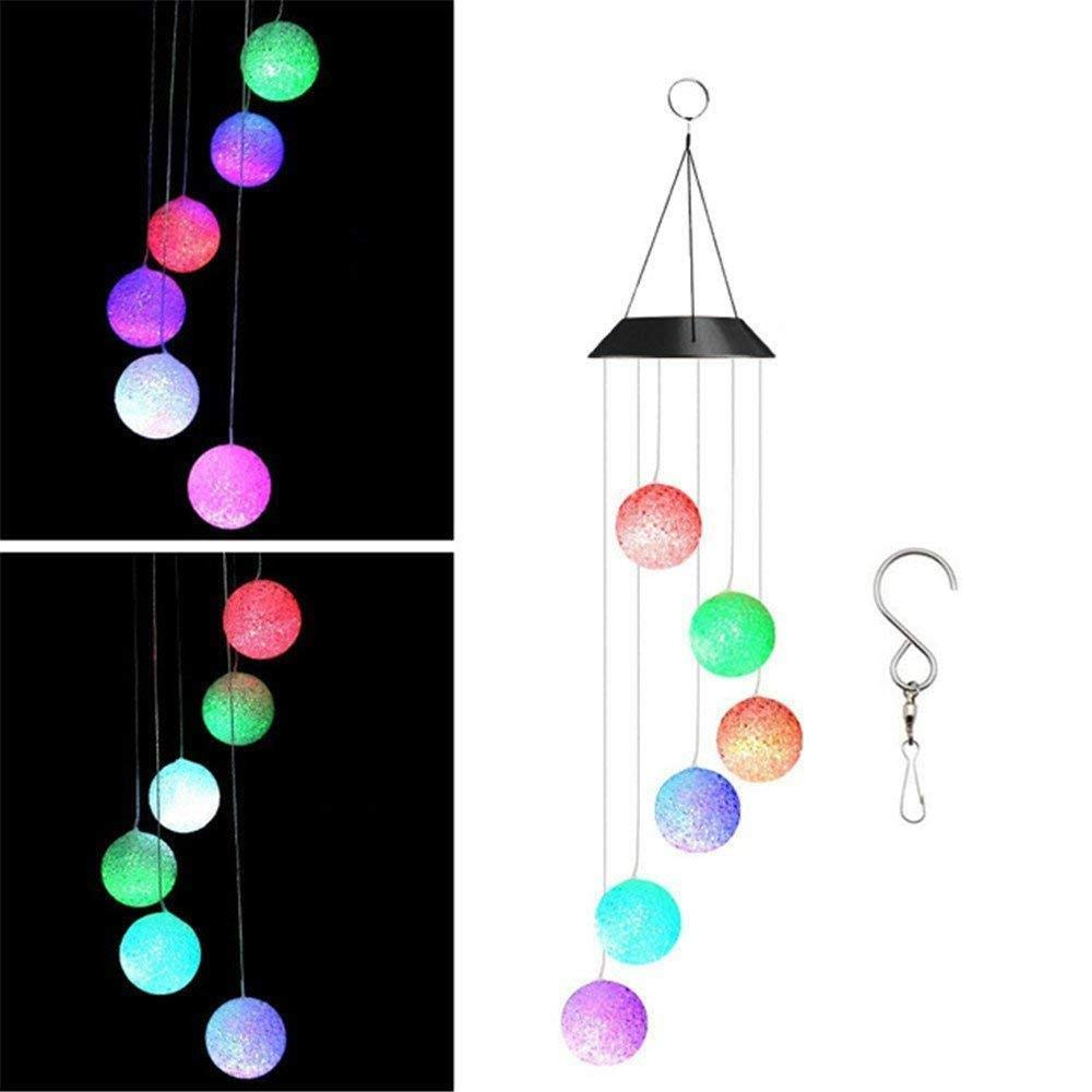 Easest Changing Colors Solar Power Mobile Wind Chime Spinner, Waterproof Spinner Windchime Outdoor Decorative Mobiles Hanging Ball Solar LED Lights for Patio, Yard,Garden,Pathway Lighting Decoration