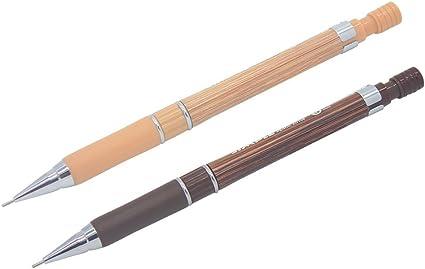 Gaocheng 2 Pack - Portaminas de 0,5 mm, lápiz de dibujo automático, cuerpo de grano de madera con goma antideslizante (marrón), color #1: Amazon.es: Oficina y papelería