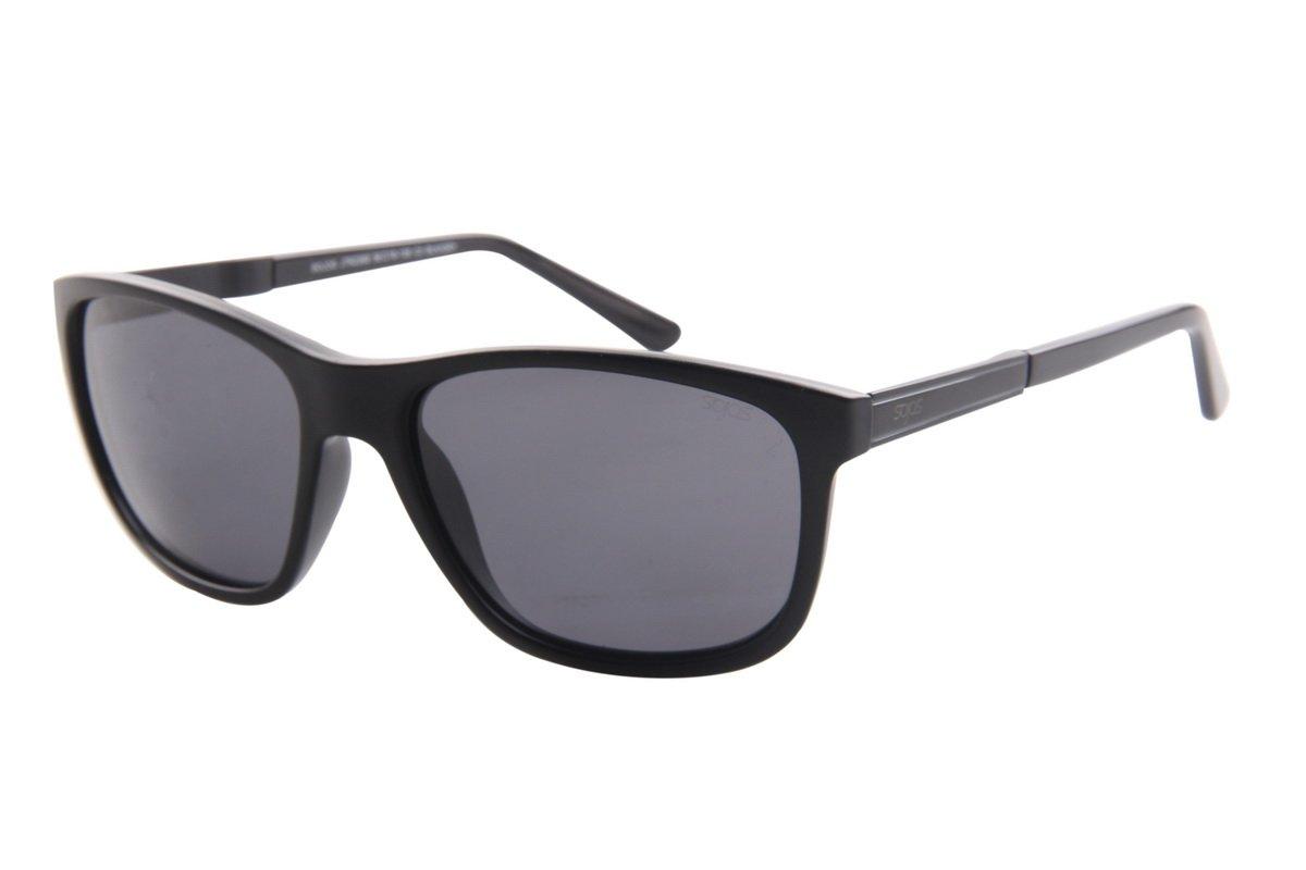 SojoS Unisex TR90 Shatterproof Square Polarized Lens Sunglasses for Men and Women With Matt Black Frame/Black Lens by SOJOS