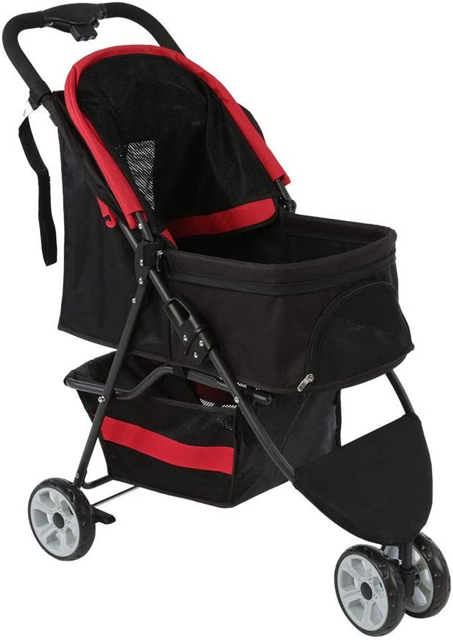 AYNEFY Pet Stroller 3 Wheels Foldable Portable Pushchair for Dog and Cat with Rear Wheel Brake and Lower Basket