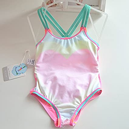 Piece Swimsuit Cross Back Little Girls 1