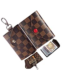 6 Ring Key Case for Women and Men Leather Small Credit Card Holder Mini Plaid Car Holder Bag Purse Pouch Keychain (Brown)