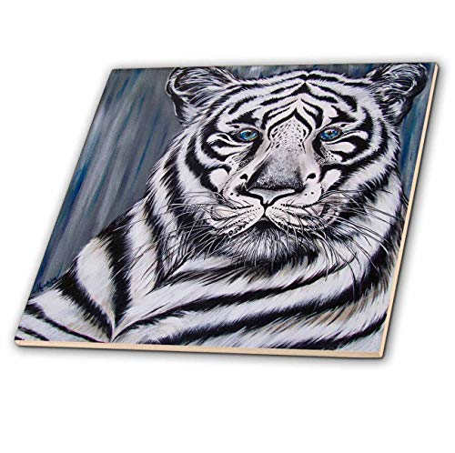 3dRose Art by Mandy Joy - Animals - A Realistic Painting of a Tiger. - 8 Inch Glass Tile (ct_291488_7) ()