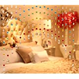 Discount4Product 20 String Crystal Strings Bead Hanging Curtain Crystal Bead And Glass Drops Arch Shape Rainbow Curtain For Partition