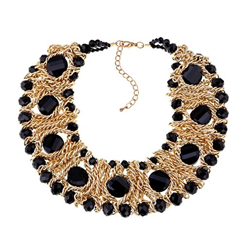 Kaymen Jewelry Gold-Plated Copper Chians and Crystal Stone Knit Statement Choker Necklaces for Women