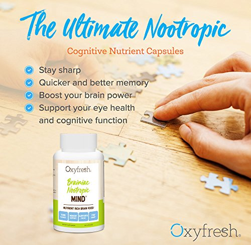 Oxyfresh Mind Daily Nootropic Supplement - Brain Function Support - Neuro Cognitive Nutrient - Improve Memory - Increase Mental Acuity - Better Clarity & Concentration - 120 Packets - Oxyfresh Mind by Oxyfresh (Image #1)