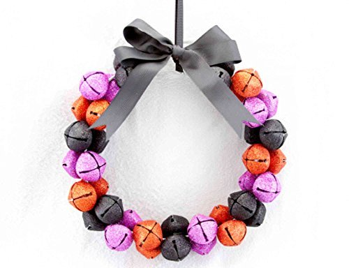 Metal Glittered Purple, Orange and Black Bell with Bow Halloween Wreath by Gisela Graham