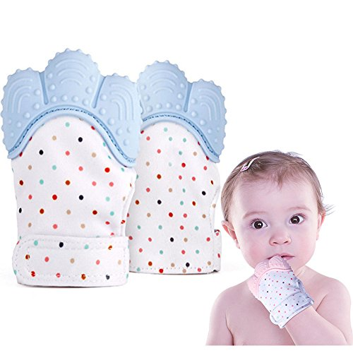 Baby Teething Mitten Soother Glove 2 Pack -Teething Toys Provides Self-Soothing Fun-Pain Relief Remedy for Sore Gums and Cutting Teeth, Gel Applicator for Babies 2-12 Months,BPA-Free by Honeststar