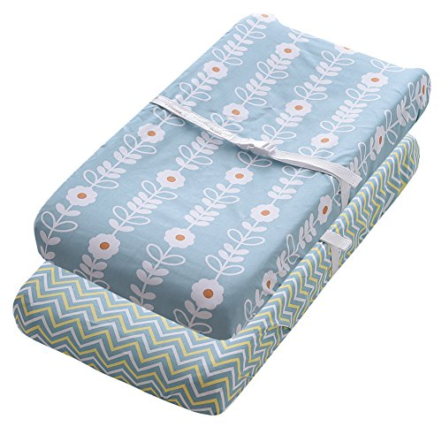 Gina Era Changing Pad Cover Set 2 Pack 100% Jersey Cotton for Baby Changing Table Covers(style12) (Changing Pad Cover)