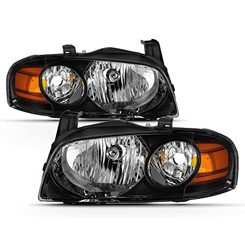 VIPMOTOZ Black Housing OE-Style Headlight Headlamp Assembly For 2004-2006 Nissan Sentra, Driver & Passenger Side