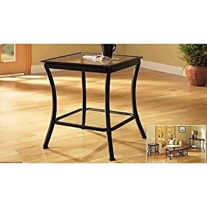 Mendocino Side End Table Metal Glass Side Accent Living Room Furniture Set