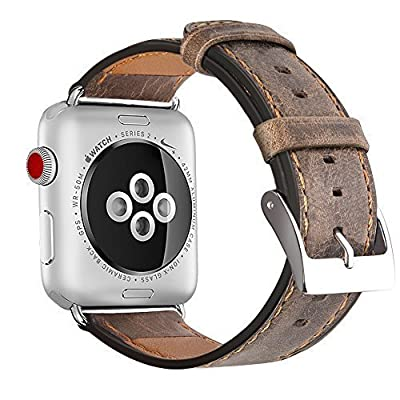 Apple Watch Band 42mm 38mm, OULUOQI Alligator Texture Leather Band with Stainless Metal Buckle for Apple Watch Series 2, Series 1, Sport & Edition