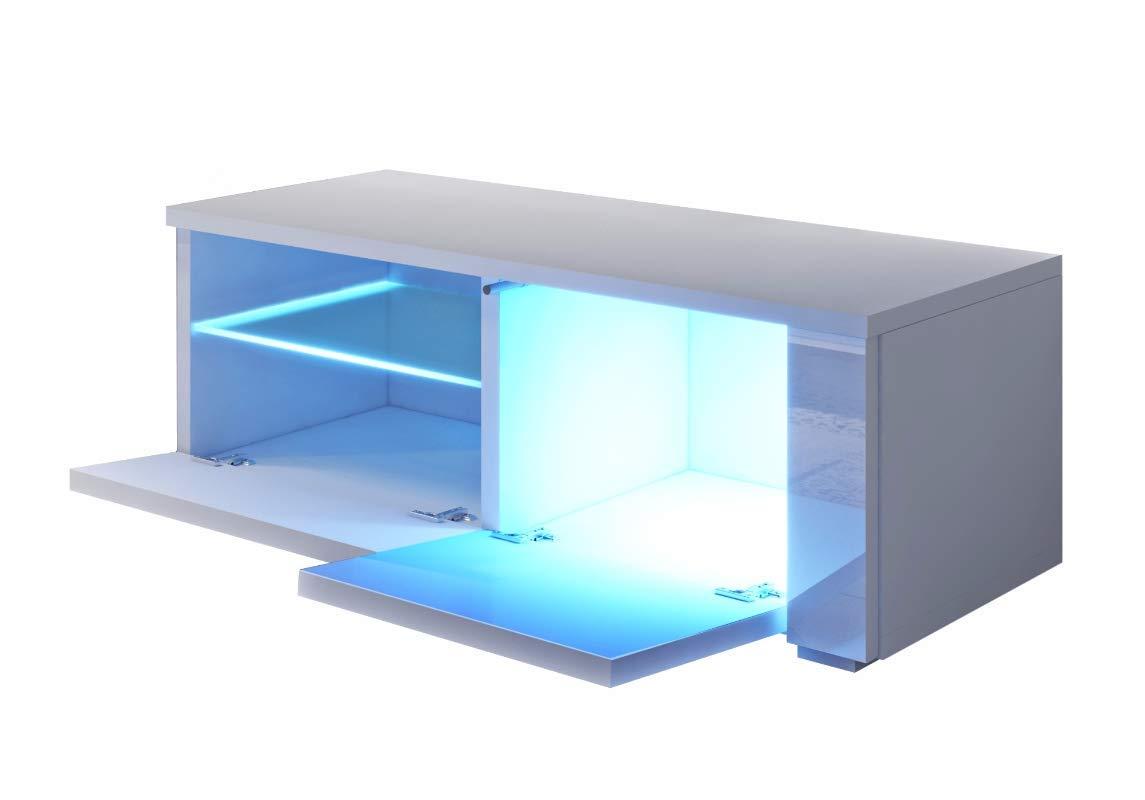 100 x 45 x 35 TV-Lowboard//Fernsehschrank//Fernsehtisch mit Schrankf/ächern und Offenem Fach auf der rechten Seite Selsey Oxy Single in Wei/ß mit LED-Beleuchtung