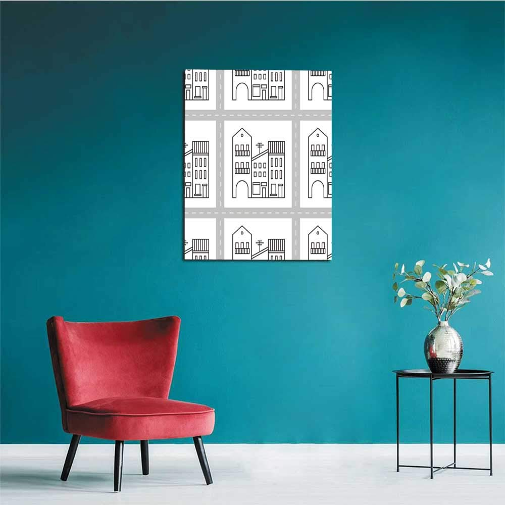 longbuyer Wall Sticker Decals Seamless Pattern with Houses and Streets Mural 32x48