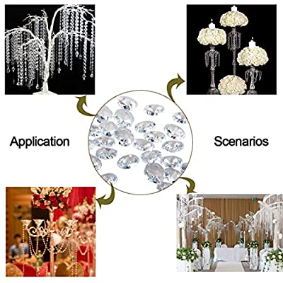 H&D 50pcs 18mm Clear Crystal 2 Hole Octagon Beads Glass Chandelier Prisms Lamp Hanging Parts : Garden & Outdoor