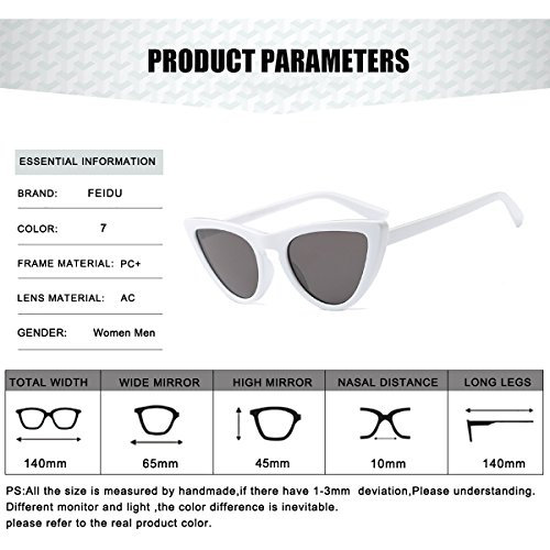 FEIDU Fashion Cat Eye Sunglasses for Women Retro shades Glasses FD 4005 Black/White