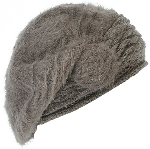 Hand By Hand Aprileo Women Floral Beret Angora Blend Hat Lined Soft Warmth Beanie [Taupe](One Size)