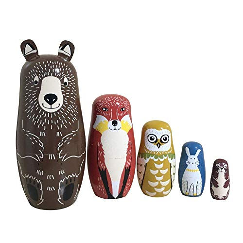 Coppthinktu 5Pcs Russian Nesting Dolls Authentic Russian Stacking Dolls Wooden Matryoshka Handmade Babushka Dolls for Birthday Christmas New Year Gift Home Decoration Kids Toy