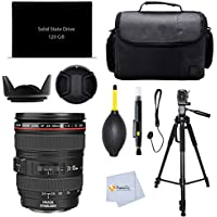 Canon EF 24-105mm f/4 L IS USM Lens (White Box) for Blackmagic Design Production Camera 4K with EF Mount + 120GB SSD + 72 Tripod + Case + Lens Cleaning Pen & more