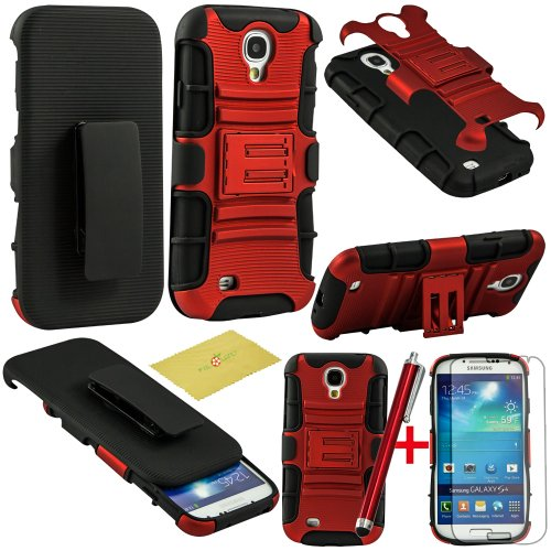 Fulland Prime Series Dual Layer Holster Case with Kick Stand and Locking Belt Swivel Clip for Samsung Galaxy S4 I9500 With Stylus & Screen Protector-Red/Black