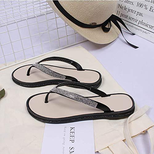 Estate Casual Infradito Antiscivolo Sandali Donna Nero Cristalli Scarpe Vacanza Piscina Piatto Con Da Pantofola Per Daytwork Spiaggia wtfvxq7PC