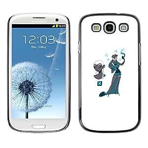 Mujer del estilo de Cachemira del trullo Moda Blanca- Metal de aluminio y de plástico duro Caja del teléfono - Negro - Samsung Galaxy S3
