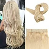 Easyouth 20″ Flip Halo on Hair Extensions Color #613 Yellow Blond Hairpiece with Hidden Wire Silky Straight 100g Per Package No Clips No Tapes Fish Line Hair Extensions Review