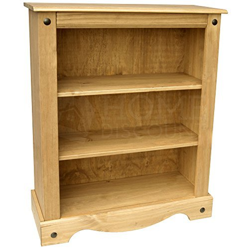 Home Discount Corona Low Book Case, Solid Pine Wood