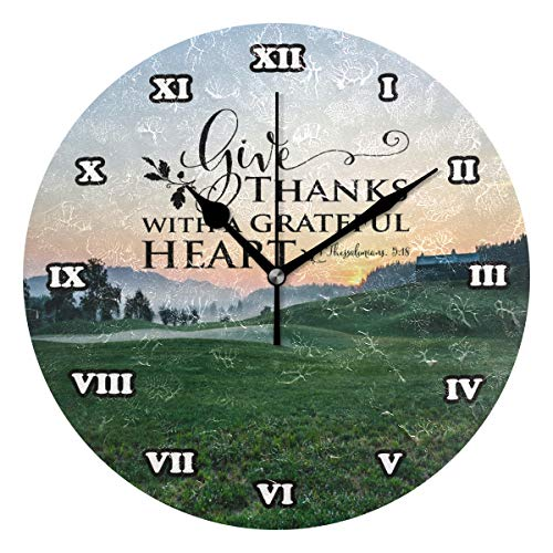 Bible Quotes Verses Give Thanks with A Grateful Heart Silent Non Ticking Wall Clock,Decorative Round 9.45