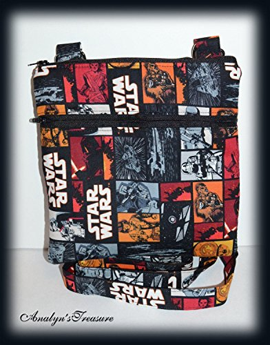 Star Wars Quilted Crossbody Bag, Crossbody Purse, Hipster Bag, Star Wars VII Characters in Block Travel Bag, Travel Purse, Double Zippered Bag, Passport Bag, Quilted Bag