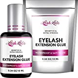 Eyelash Glue for Professional Lash Extensions - Deep Black Lash Glue - Extra Strong Hold & Long Lasting - Volume Plus & Max Boning - 1-2 Sec Drying Time - 0,34OZ - Latex FREE Lash Adhesive