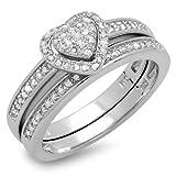 0.23 Carat (ctw) Sterling Silver White Diamond Ladies Engagement Ring Set 1/4 CT (Size 9)