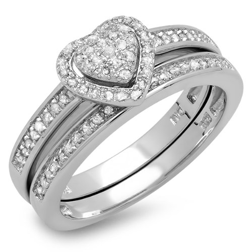 Dazzlingrock Collection 0.23 Carat (ctw) Sterling Silver White Diamond Ladies Engagement Ring Set 1/4 CT, Size 6