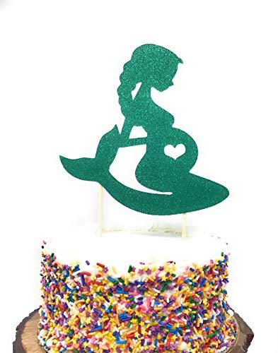 Pregnant Mermaid Baby Shower Cake Topper Cake Toppers for Mermaid Themed Baby Shower Party Double Sided Glitter (Teal Green)