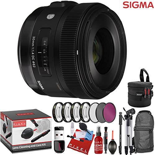 Sigma 30mm f/1.4 DC HSM Art Lens for Canon EF with 13 Piece Creative Filter Kit and a Heavy Duty Extra Padded Lens Case