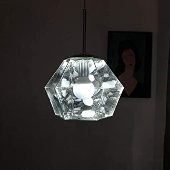 Rustic Geometric Hanging Light 1 Light Clear Crystal Chandelier Lighting for Dining Room