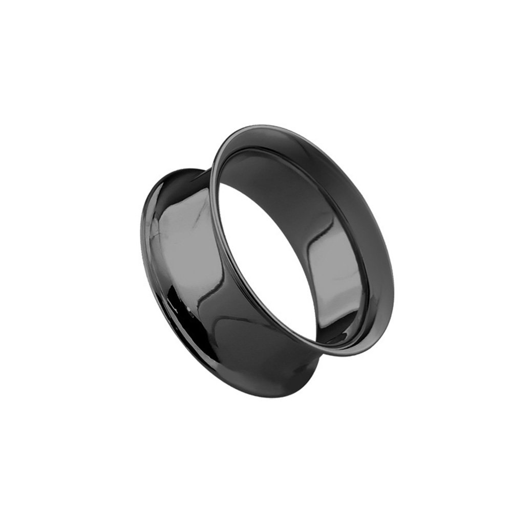 Dynamique Pair Of Double Flared Tunnels Up To 2''(50mm) Black PVD Plated Over 316L Surgical Steel