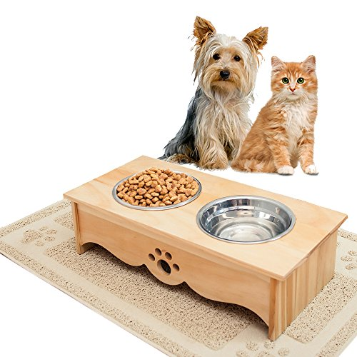 Small Dog Bowls Elevated Feeder and Pet Feeding Mat for Cats and SMALL Dogs under 30lbs, BUNDLED SET, Raised Dog Bowls for Small Dogs, Cat Bowl, INCLUDES Waterproof Feeding Mat