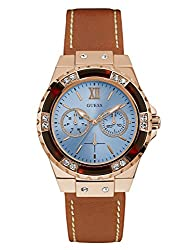 Guess Women's Stainless Steel Leather Casual Watch With Day & Date Display, Color: Rose Gold-tonebrown (Model: U0775l7)