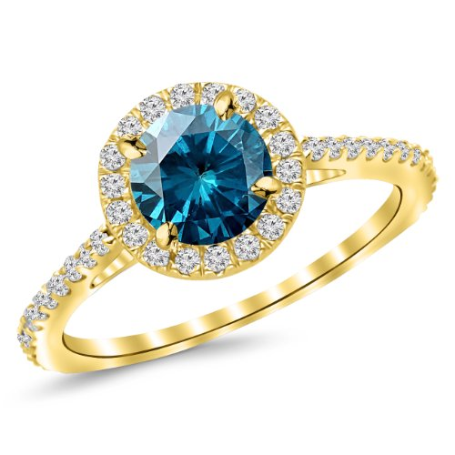 2.4 Carat 14K Yellow Gold Classic Halo Diamond Engagement Ring with a 2 Carat Blue Diamond Center (Heirloom Quality) (Rings Diamond 2ct Engagement)